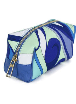 Emilio Pucci Green Blue White Nylon Cosmetic Pouch 2
