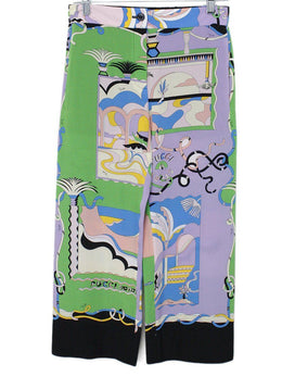 Emilio Pucci Green Lilac Aqua Blue Silk Pants