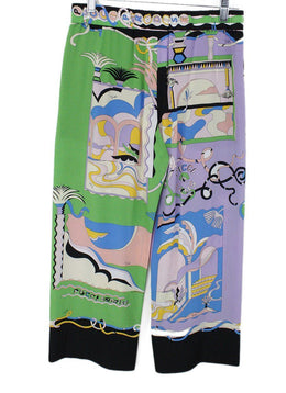 Emilio Pucci Green Lilac Aqua Blue Silk Pants 1