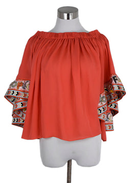 Emilio Pucci Coral Silk Yellow Blue Top 1