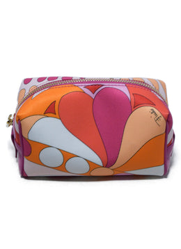 Emilio Pucci Orange Fuchsia White Nylon Leather Leather Cosmetic's Case 1