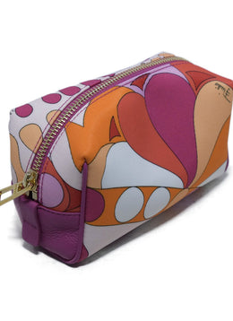 Emilio Pucci Orange Fuchsia White Nylon Leather Leather Cosmetic's Case 2