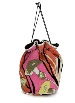 Emilio Pucci Pink Orange Black Terricloth Drawstring Cosmetic Bag | Emilio Pucci