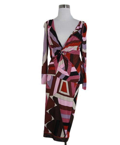 Emilio Pucci pink red black print dress 1