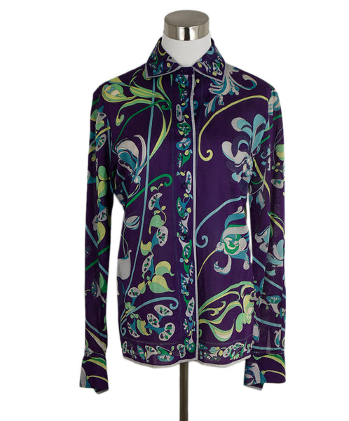 Emilio Pucci Purple Blue Green Cotton Shirt 1