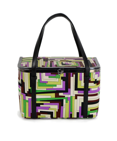 Emilio Pucci Purple Green Silk Black Leather Trim Handbag 1