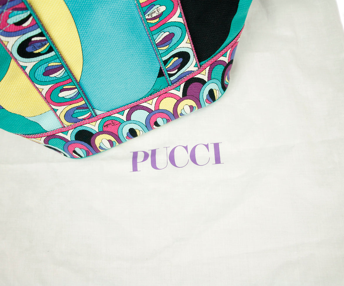 Emilo Pucci Blue Green Purple Canvas Satchel 6