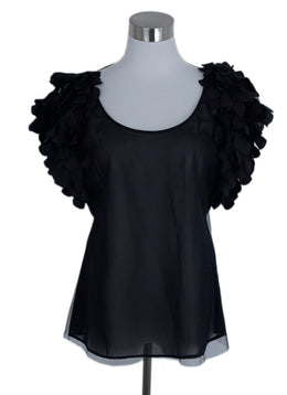 Emporio Armani Black Mesh Sheer Silk Ruffle Top 1