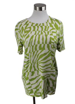 Equipment Green Lime White Cashmere Silk Top 1