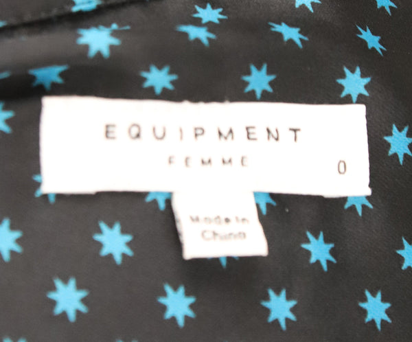 Equipment Black Blue Print Silk Dress 4