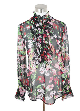 Equipment Black Red Green Floral Silk Top 1