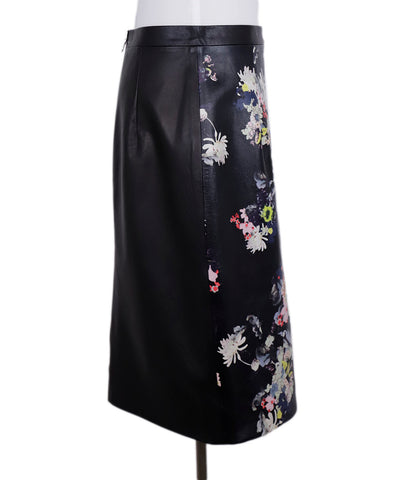 Erdem Black Floral Leather Pencil Skirt 1