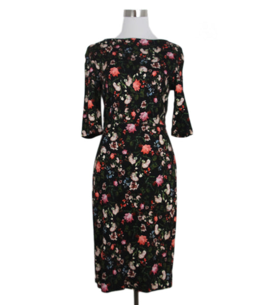 Erdem Black Pink Floral Cotton Dress 1