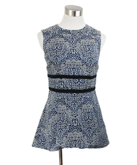 2 PC Ralph Lauren Size 8 Blue Navy Cream Print Silk Ruffle Dress