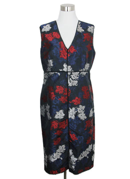 Erdem Blue Red Floral Dress 1