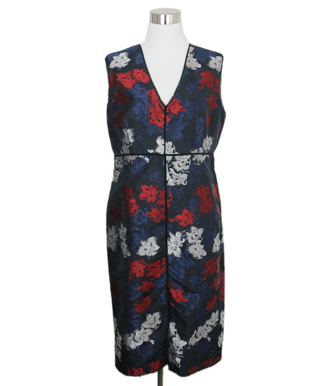 Ralph Lauren White Blue Print Silk Two Piece Dress Sz 8