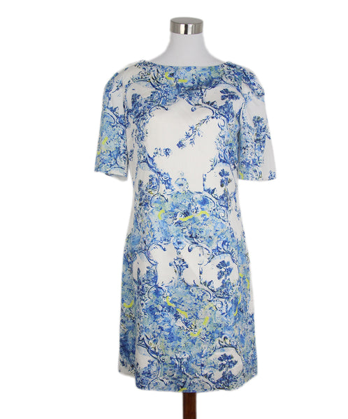 Erdem Blue ivory lime print dress 1