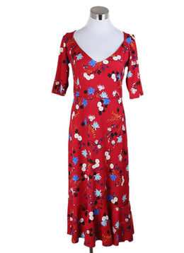 Erdem Red Floral Cotton Dress Sz 6
