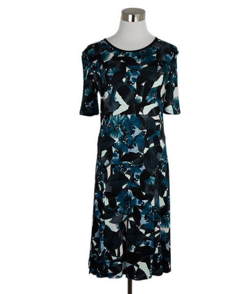 Erdem Black Blue Print Cotton Spandex Dress 1
