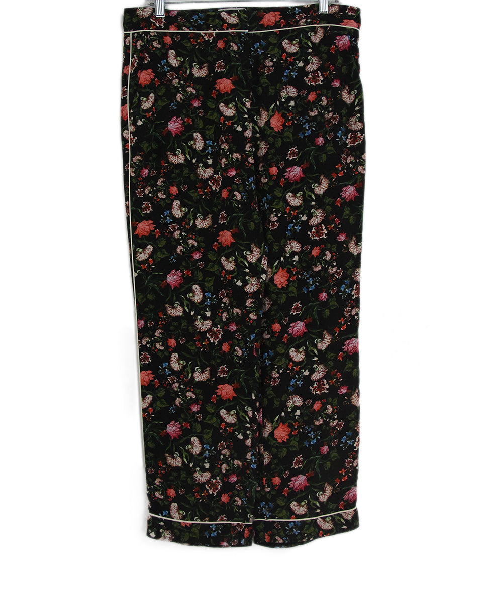 Erdem black multi floral print pants 1