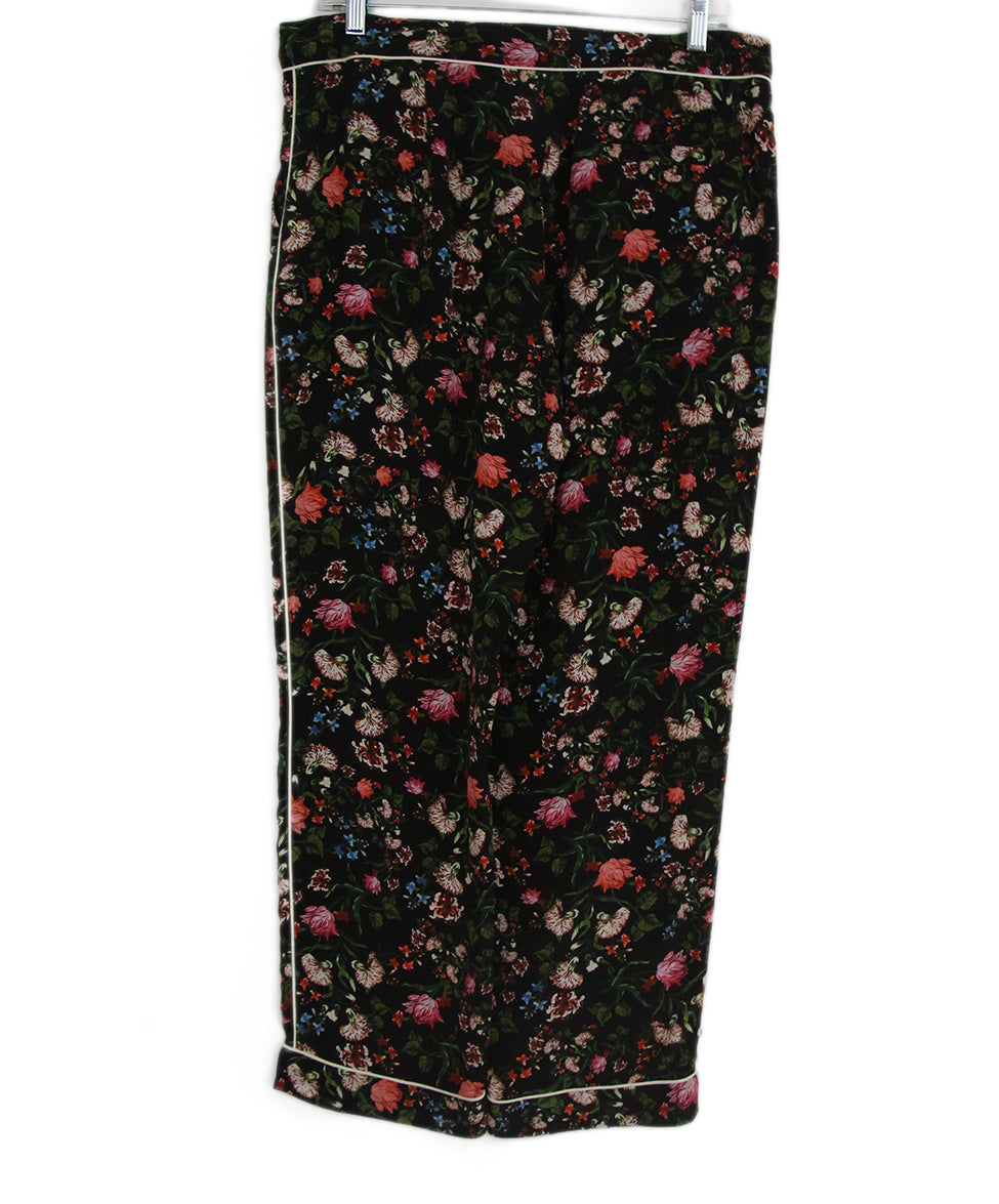 Erdem black multi floral print pants 2