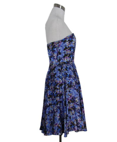 Erdem blue purple print dress 1