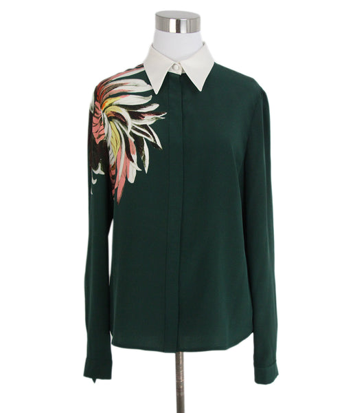 Erdem green white pink blouse 1