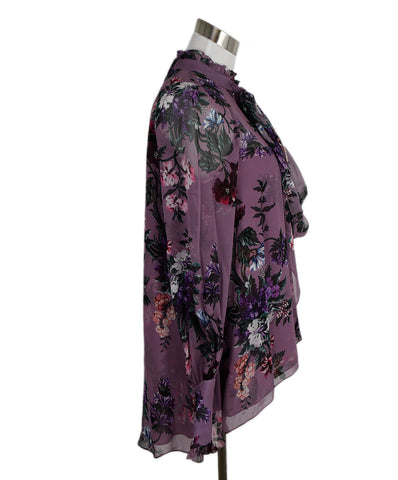 Erdem Purple Lilac Floral Silk Blouse 1