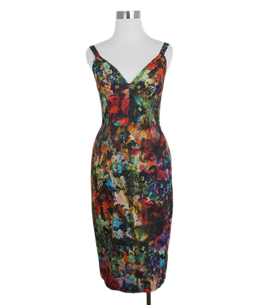 Erdem red green blue print dress 1