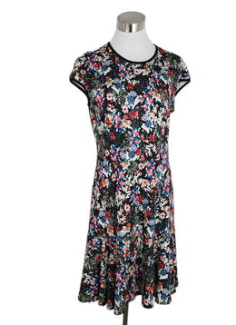 Erdem White Blue Red Floral Viscose Dress 1