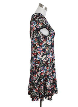 Erdem White Blue Red Floral Viscose Dress 2