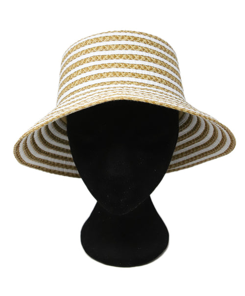 Eric Javits Neutral Brown Stripes Straw Hat 1
