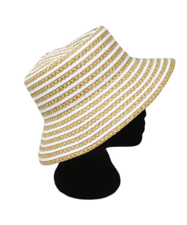 Eric Javits Neutral Brown Stripes Straw Hat 2