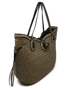 Eric Javits Neutral Straw Tote with Silver and Black Detailing 2