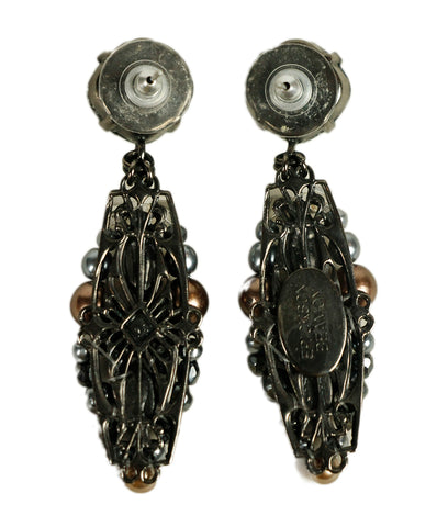 Erikson Beamon Black Pearls Brown Rhinestones Earrings 1
