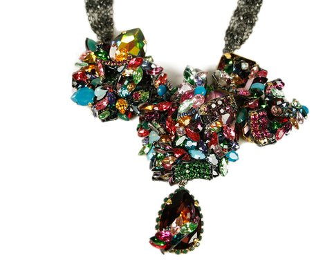 Erikson Beamon Pink Green Blue Rhinestone Necklace 1