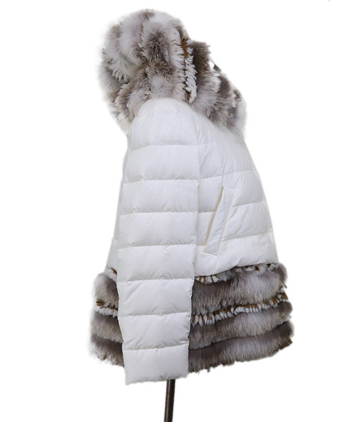 Coat Short Scervino White Down Lining Fur Suede Trim Outerwear 1