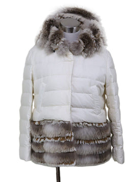 Coat Short Scervino White Down Lining Fur Suede Trim Outerwear