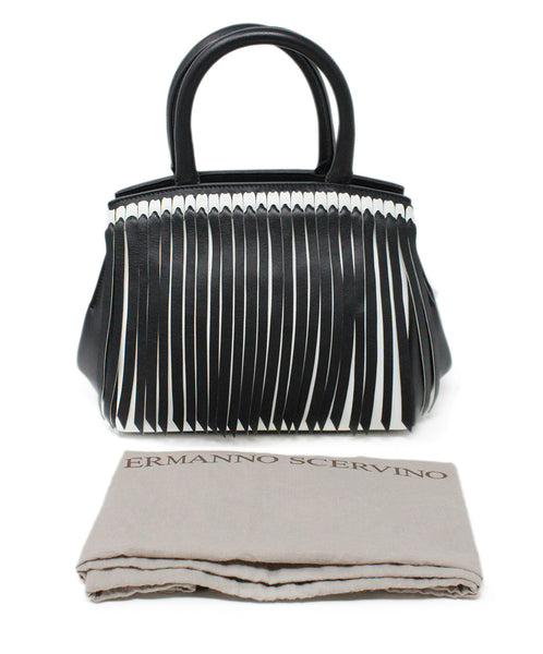Ermano Scervino Black and White Leather Handbag with Fringe Detail 4