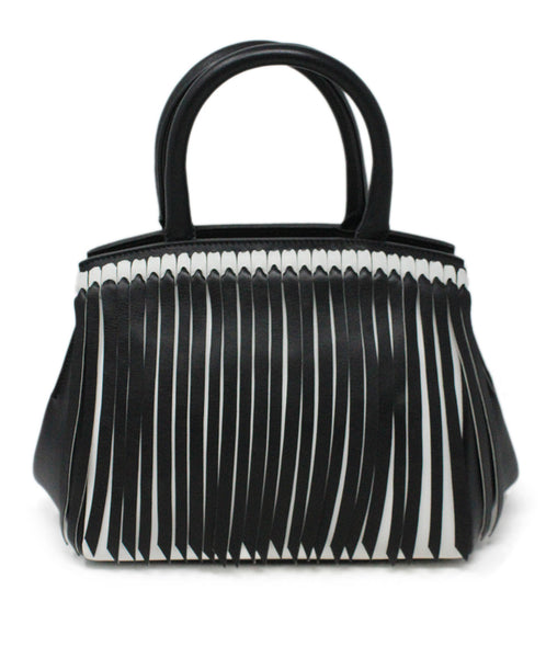 Ermano Scervino Black and White Leather Handbag with Fringe Detail 3