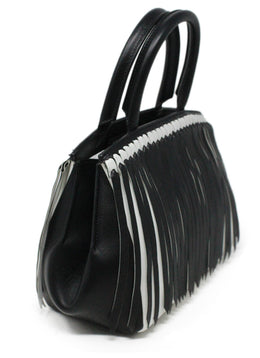 Ermano Scervino Black and White Leather Handbag with Fringe Detail 2