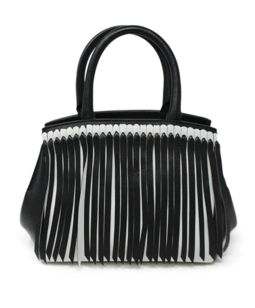 Ermano Scervino Black and White Leather Handbag with Fringe Detail 1