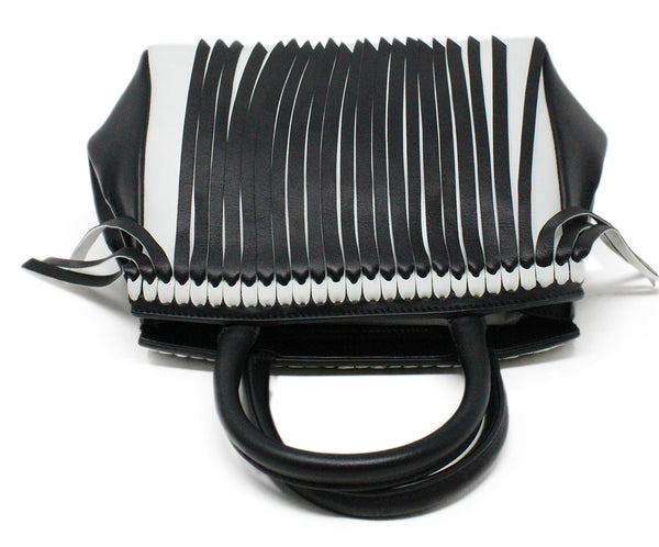 Ermano Scervino Black and White Leather Handbag with Fringe Detail 6