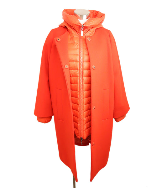 Escada Red Wool Removable Nylon Puffer Coat 1