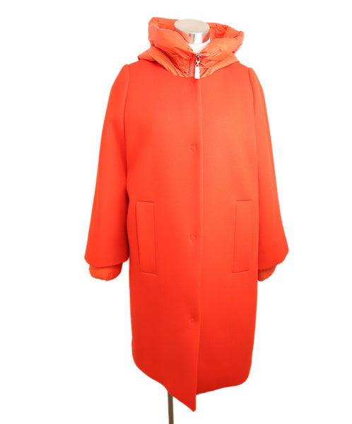 Escada Red Wool Removable Nylon Puffer Coat 2