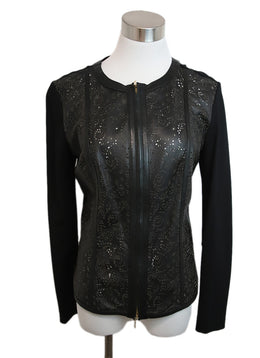 Escada Black Cotton Leather Cut Work Jacket 1