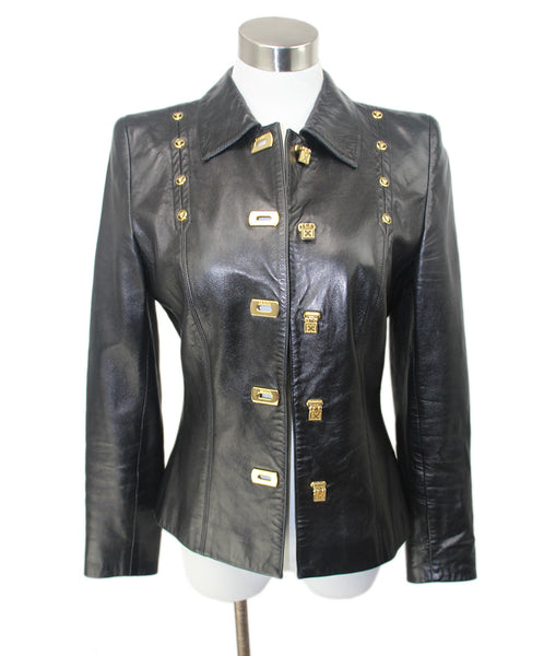 Escada Black Leather Gold Hardware Jacket 1