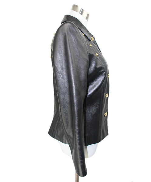 Escada Black Leather Gold Hardware Jacket 2