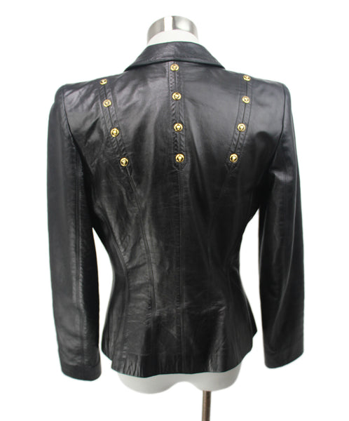 Escada Black Leather Gold Hardware Jacket 3