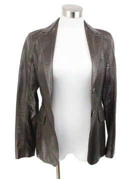 Escada Brown Pressed Leather Jacket 1